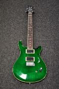 A boxed as new Harley Benton CST-24T Emerald Flame electric guitar.