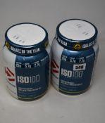 Four Dymatize ISO100 Hydrolyzed Protein Powder (100% Whey Protein Isolate) in gourmet vanilla