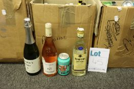 Three boxes of assorted alcohols to include ciders, wines and whisky (Over 18s only).