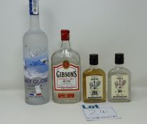 A quantity of assorted spirits to include The Famous Grouse Scotch whisky (70cl), Grey Goose