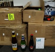 A large quantity of assorted beers and related items to include a Doom Bar mini keg, Lech, Peroni,