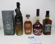 A Ysabel Regina Pedro Ximenez Cask Finish Singular Brandy, a Courvoisier VS Cognac (70cl), a Jura