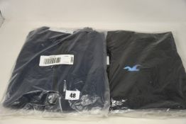 Four items of as new Hollister clothing; two full zip hoodies (L - RRP £49 each), waterproof