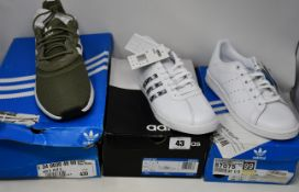 Three pairs of as new Adidas trainers; X PLR S (UK 9), Stan Smith (UK 4.5) and Courtset (UK 7).