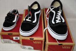 Two pairs of adult as new Vans Old Skool (UK 6.5, 12) and a pair of infants Vans Old Skool (UK 8).