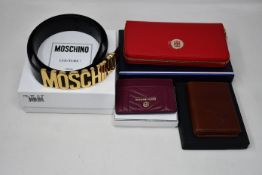 An as new Moschino Logo belt (Size 40), Tommy Hilfiger Core purse, Wilbest card wallet and a Michael