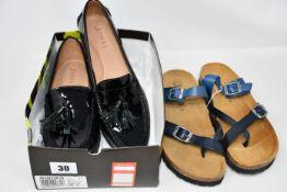 A pair of as new Jones Bootmaker Geranium black patent loafers (UK 9) and Jones Bootmaker Feix