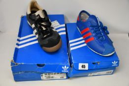 Two pairs of as new Adidas trainers; Rom (UK 11 - Squashed box) and Paris (UK 6.5).