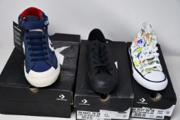 Five pairs of as new junior Converse footwear; two Pro Blaze Strap Hi (UK 4, 5), Chuck Taylor All