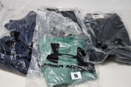 Six items of as new Under Armour sportswear; Project Rock all over print T-shirt (S - RRP £28),