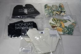 Five items of as new Monday Swimwear; Barbados top (S - RRP £46), Capri bottom (S - RRP £42),