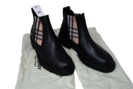 A pair of as new Burberry Vintage Check Detail leather Chelsea boots (EU 41.5 - RRP £520, no box but