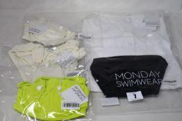 Eight items of as new Monday Swimwear; Riviera bottom (M - RRP £45), Maui bottom (M - RRP £43),