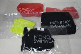 Five items of as new Monday Swimwear; Le Marais bottom (Size P - UK 4/6 - RRP £42), Costa Rica