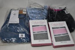 Assorted as new Calvin Klein clothing; two pairs of women's woven shorts (M), women's full length