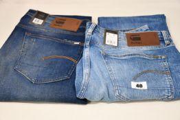 Four pairs of as new G-Star Raw jeans (W33/L32, 3 x W35 L 32, 34, 36).