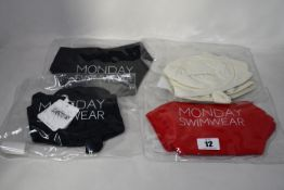 Seven items of as new Monday Swimwear; two Clovelly tops (L - RRP £52), Byron bottom (L -RRP £43),
