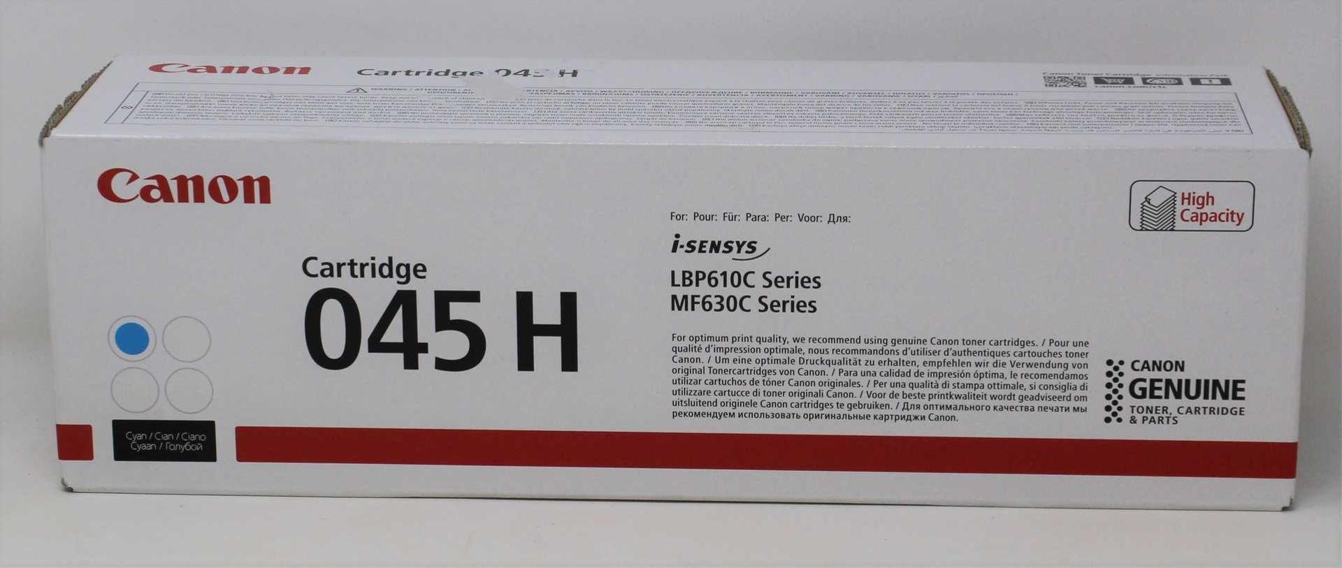 A boxed as new Canon 045H Cyan High Capacity Toner Cartridge (Box sealed).