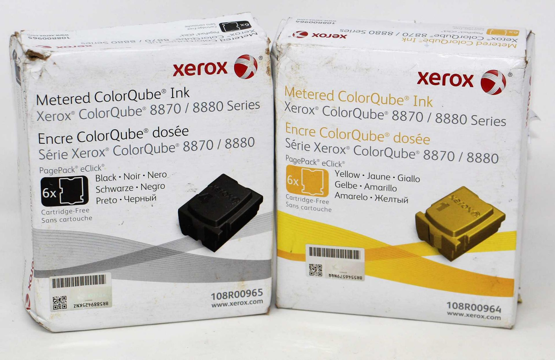 A boxed as new Xerox ColorQube 8870 Series Yellow Metered ColorQube Solid Ink Six Stick Pack(P/N: