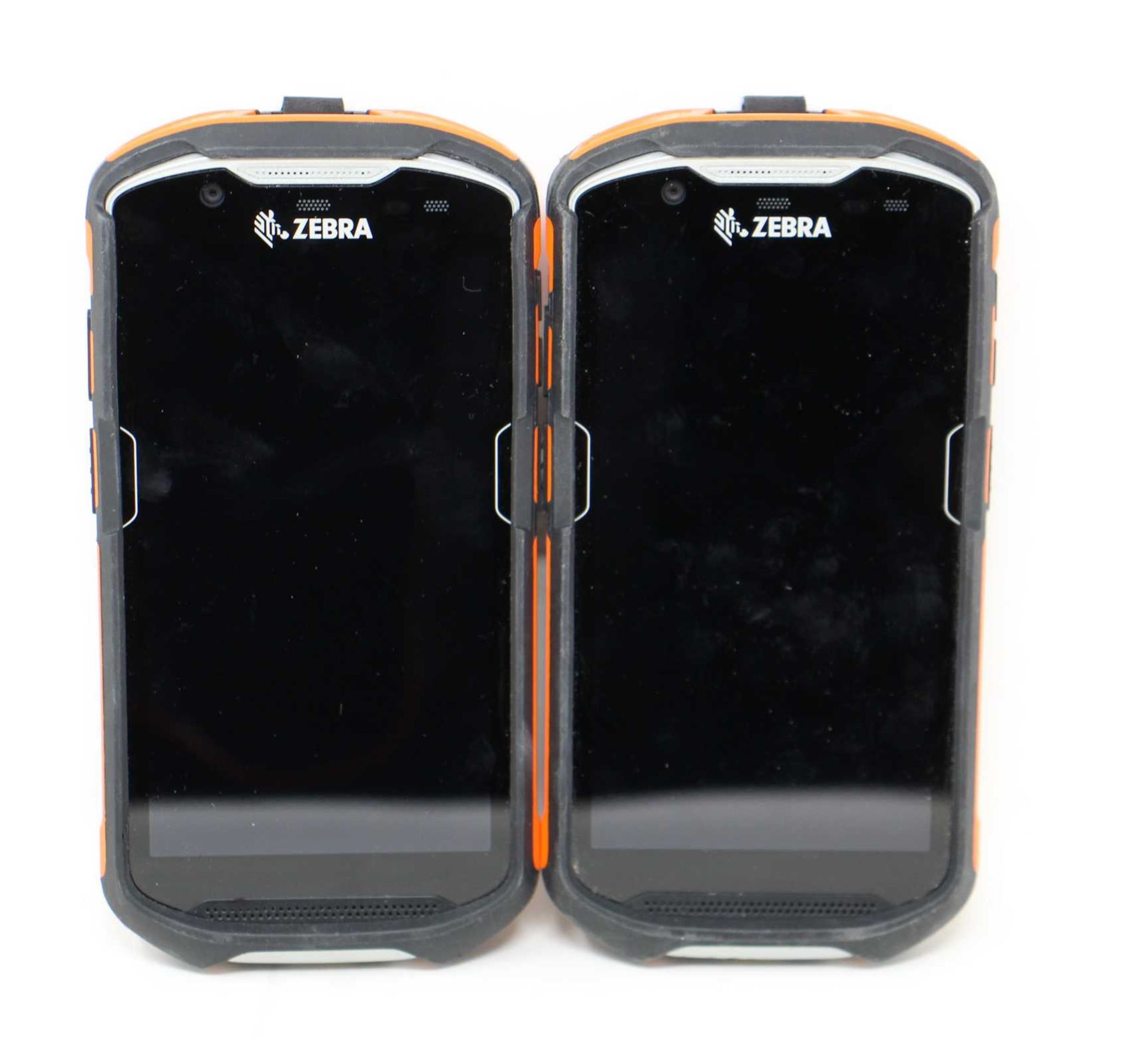 SOLD FOR PARTS: Two pre-owned Zebra TC52 Handheld Mobile Computer Barcode Scanners (M/N: TC520K-