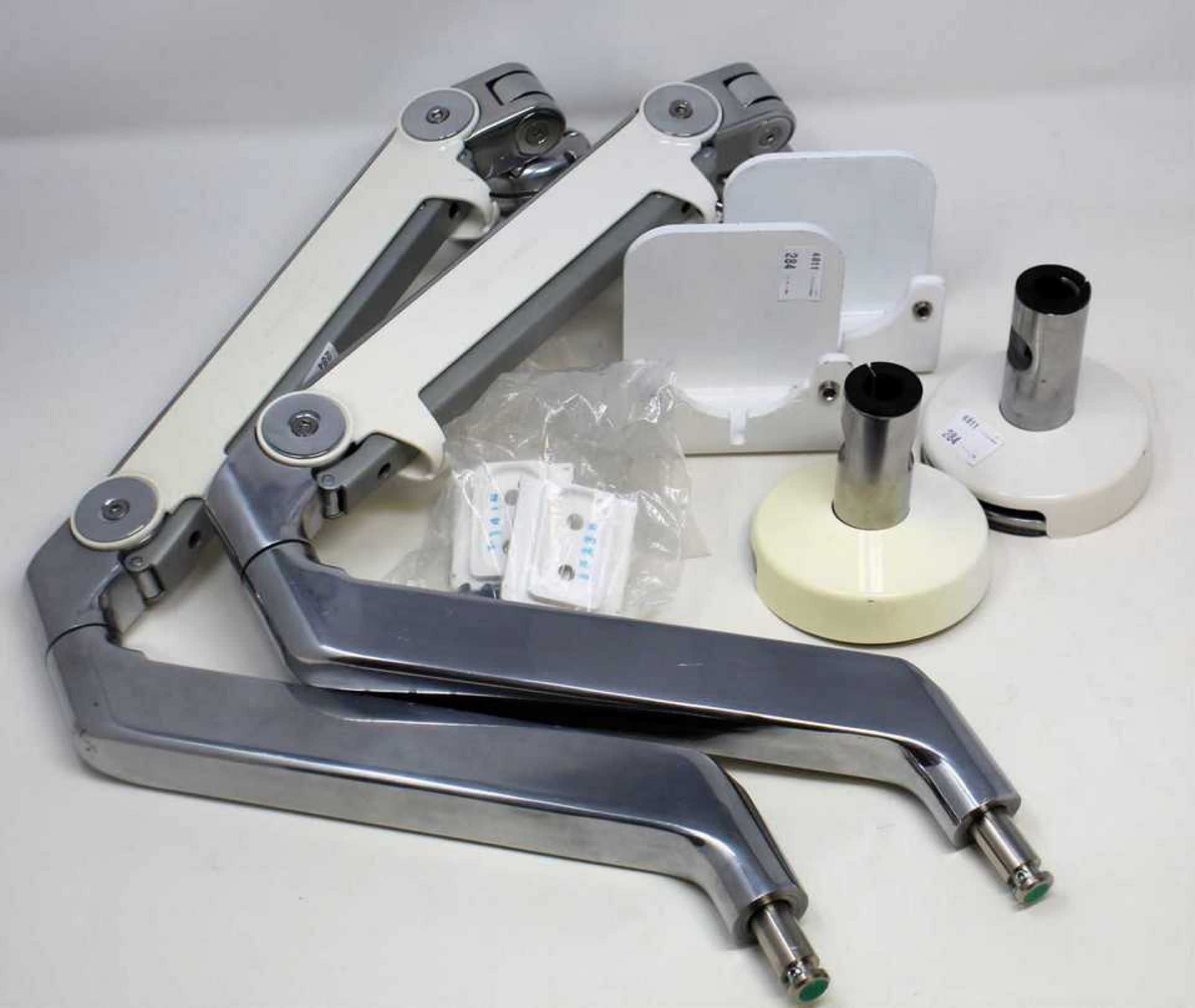 Two pre-owned Humanscale monitor arms (Appear complete, sold as seen).