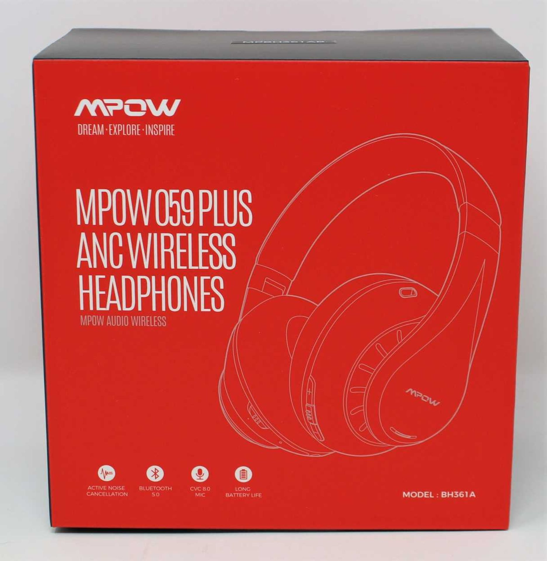 A boxed as new pair of Mpow 059 Plus Active Noise Cancelling Headphones in Black & Red (MPBH361AB).