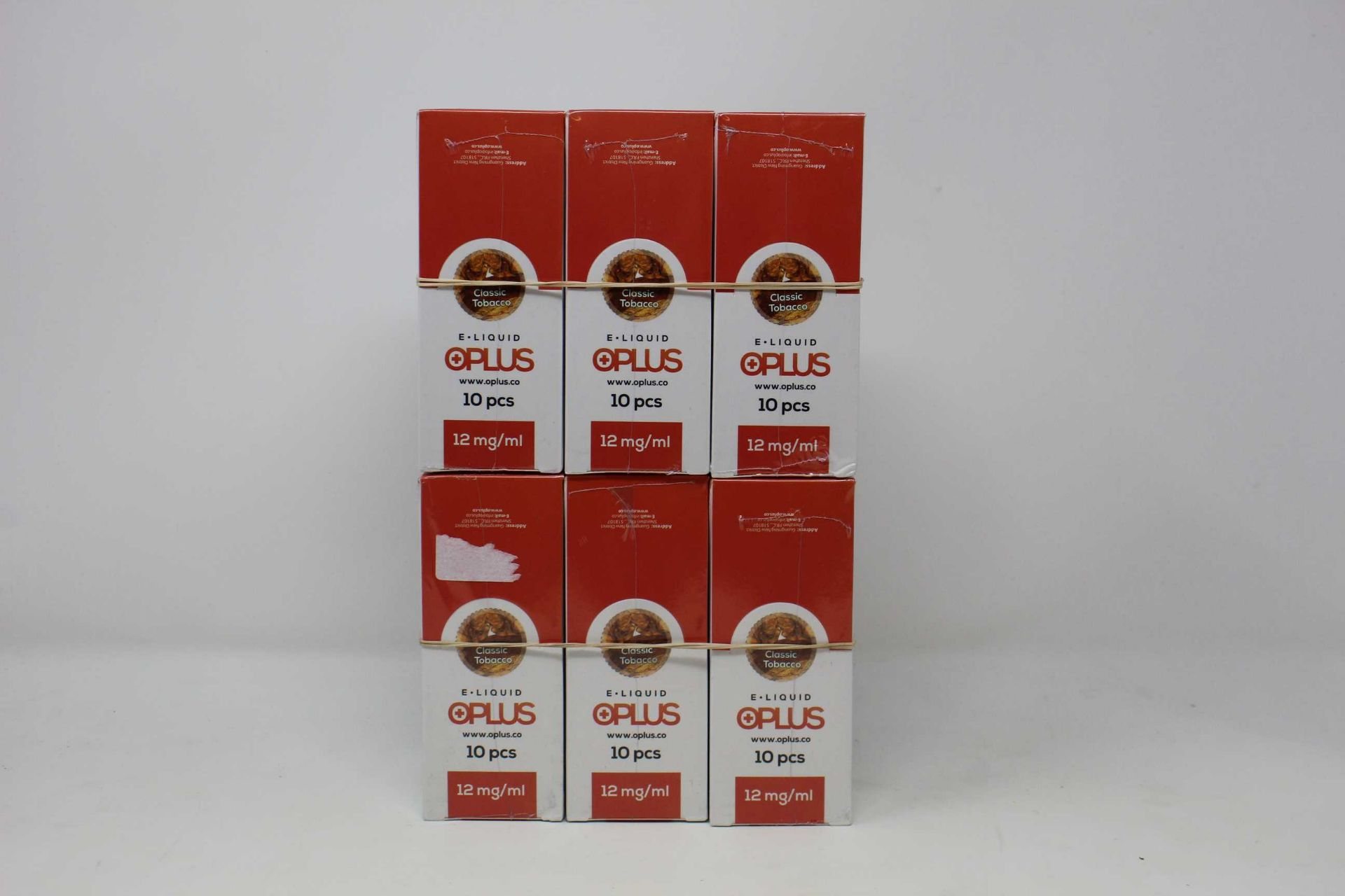 Six boxes of ten (10ml) OPLus E-Liquid in Classic Tobacco 12mg/ml (Over 18s only).