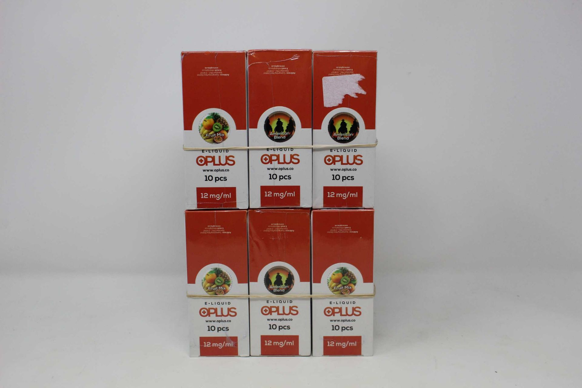 Six boxes of ten (10ml) OPLus E-Liquid in Fruit Mix and American Blend 12mg/ml (Over 18s only).