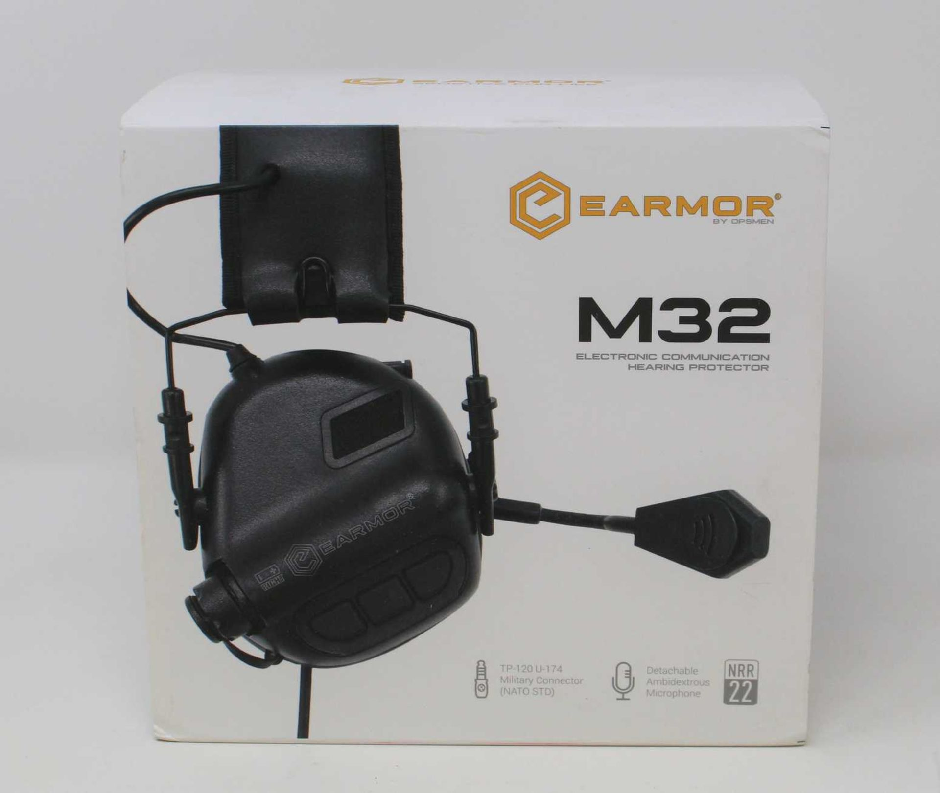 A boxed as new Earmor M32 MOD3 Communications Headset with Hearing Protection in Black (Model: M32-