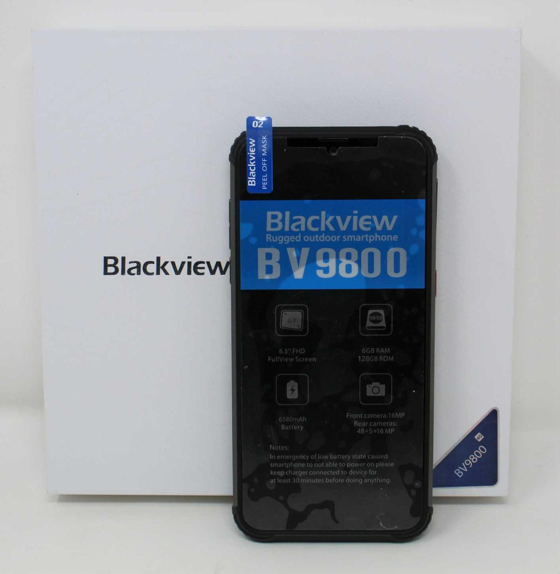 A pre-owned Blackview BV9800 (EEA) IP68 6GB 128GB Rugged Smartphone in Black (FRP clear, Checkmend