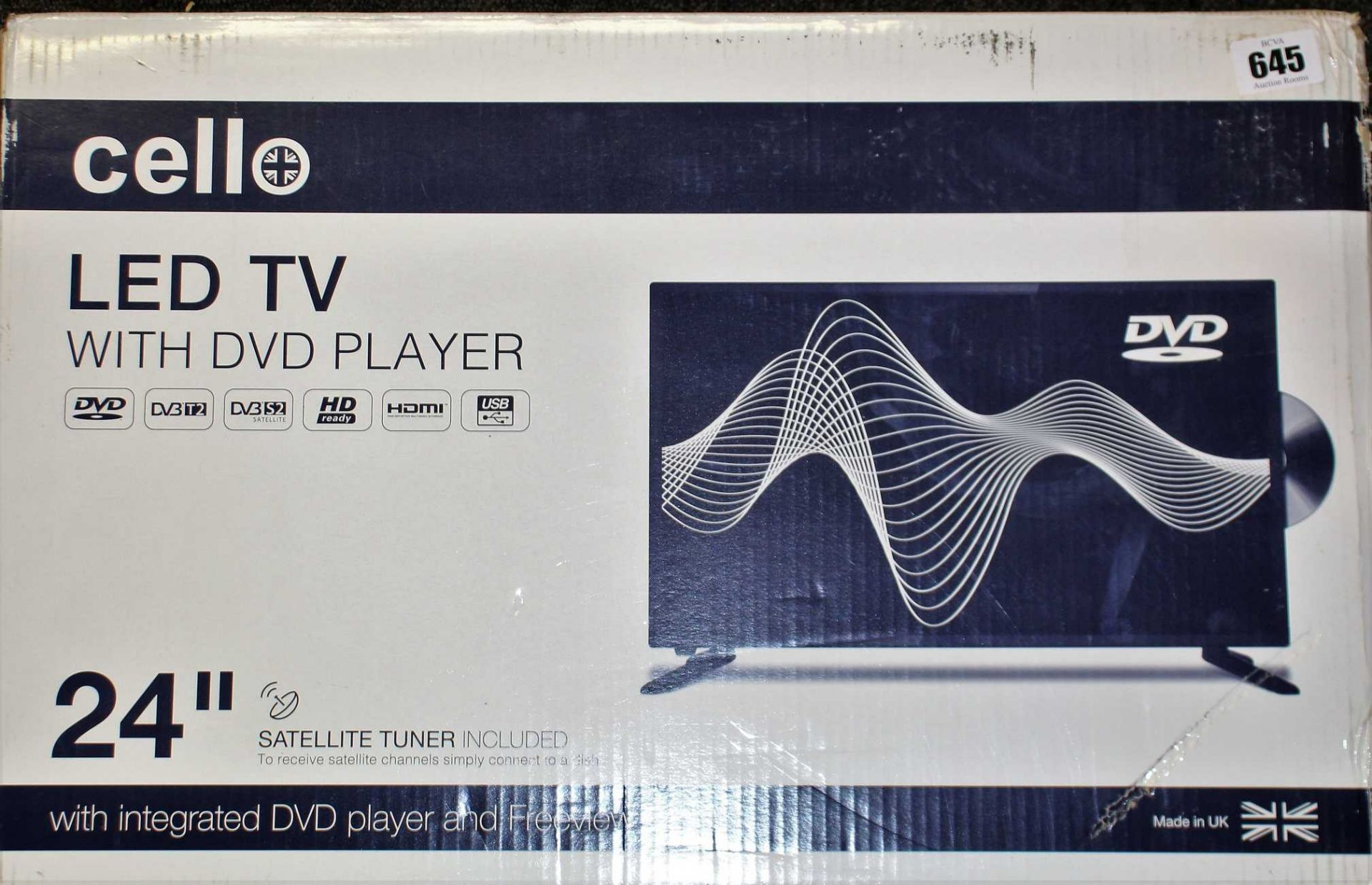 """COLLECTION ONLY: A boxed as new Cello C2420FS 24"""" HD LED Digital TV with Built-in DVD Player (Box"""