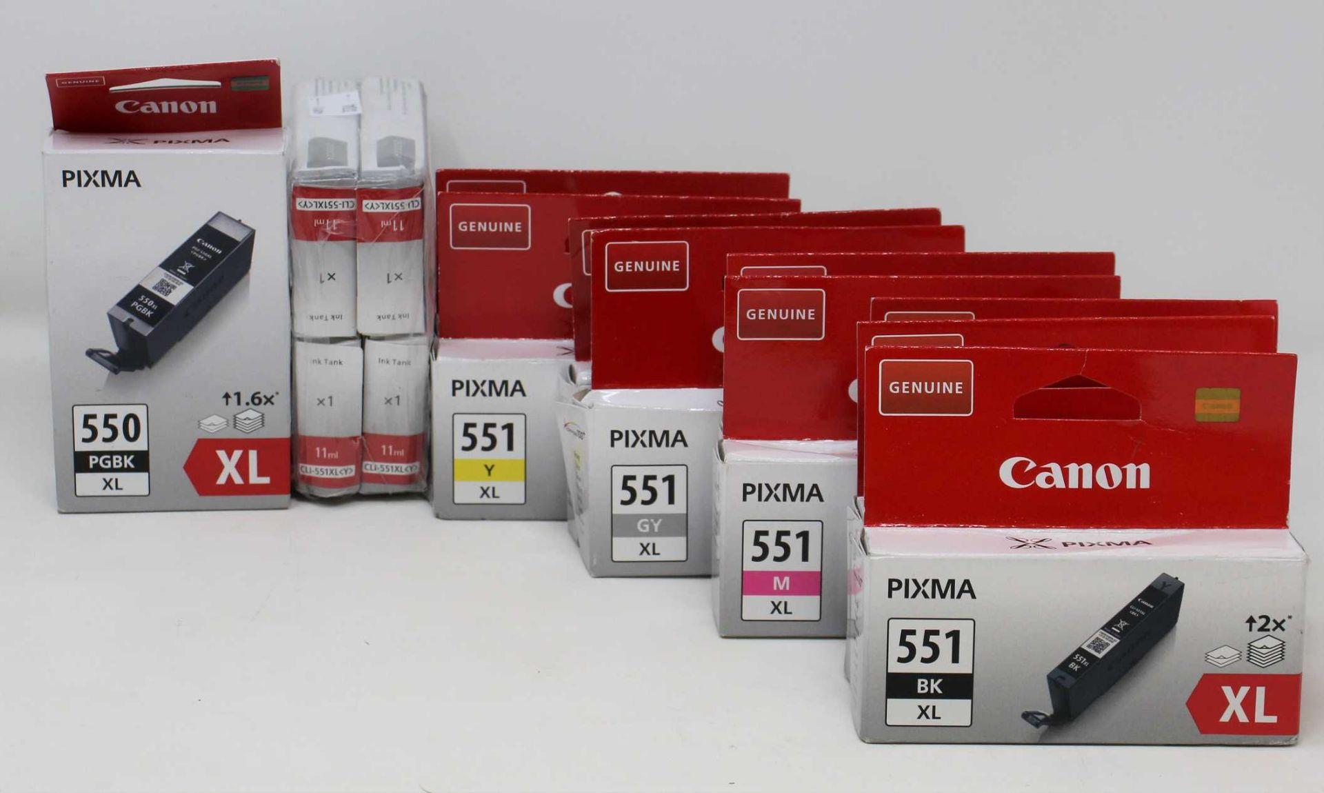 Fourteen boxed as new Canon Pixma Ink cartridges: 1 x 550 PGBK XL Black, 3 x 551 XL Black, 2 x 551