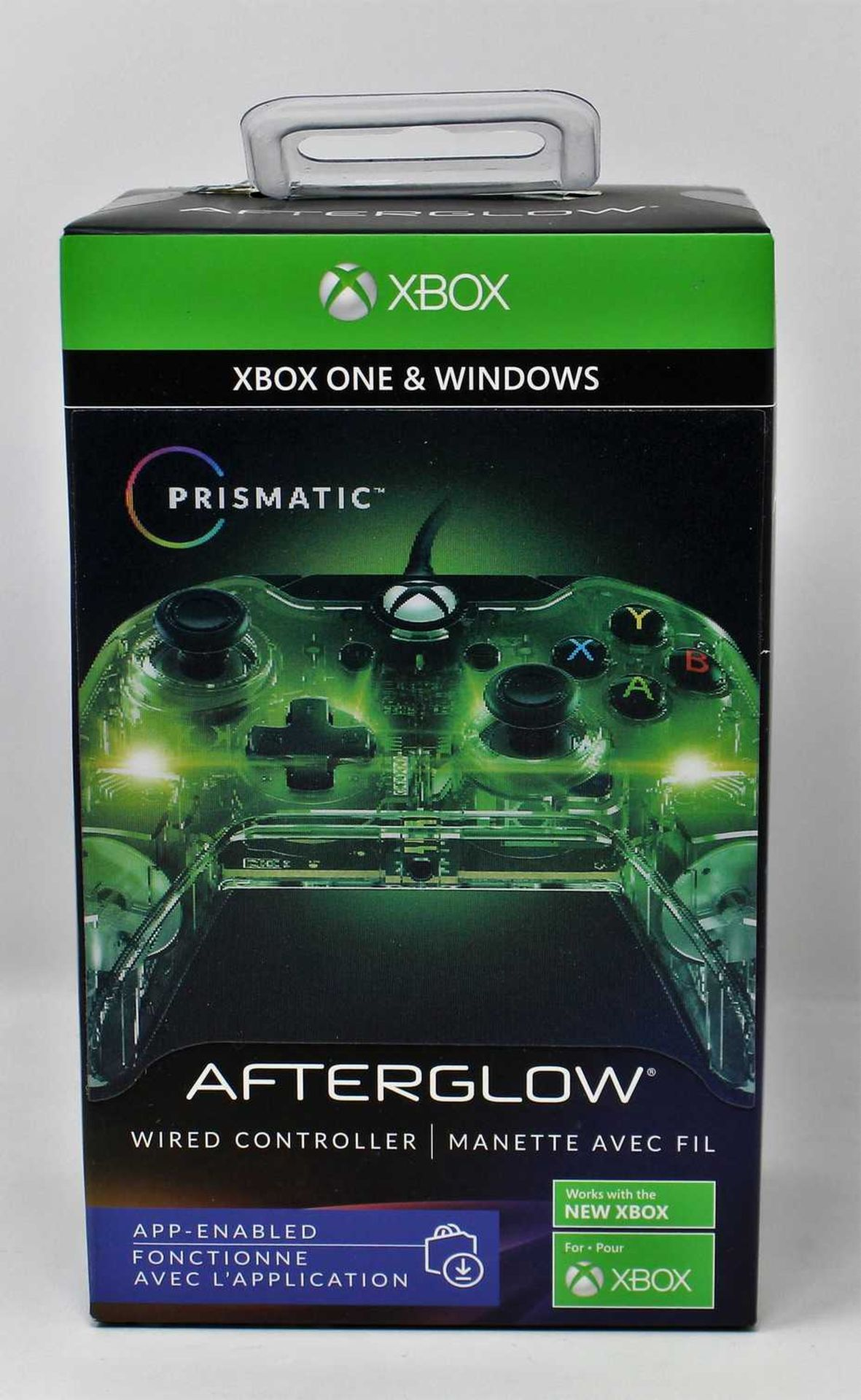 A boxed as new Afterglow Prismatic Wired Controllers for Xbox One & Windows 10 (Box sealed, some