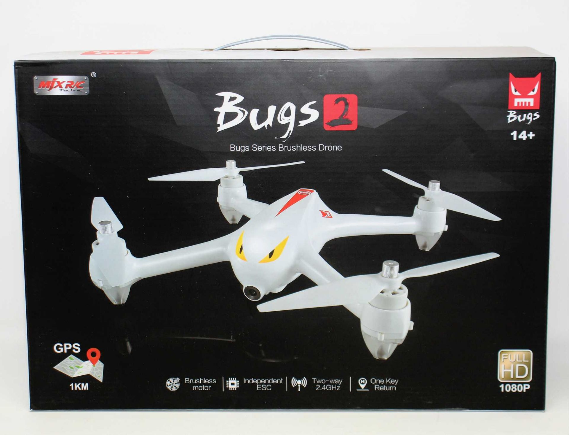 A boxed as new MJX Bugs 2 Brushless Quadcopter Drone (UK plug adapter required) (Box sealed).