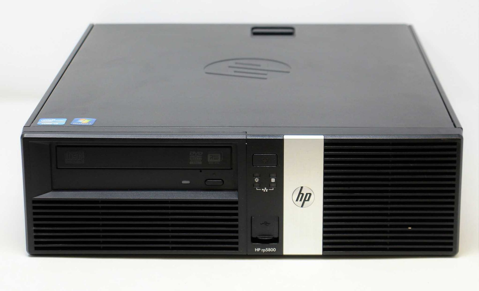 A pre-owned HP rp5800 Retail System with Intel i3 3.3GHz, 8GB RAM, 500GB HDD running Windows 7 COA.