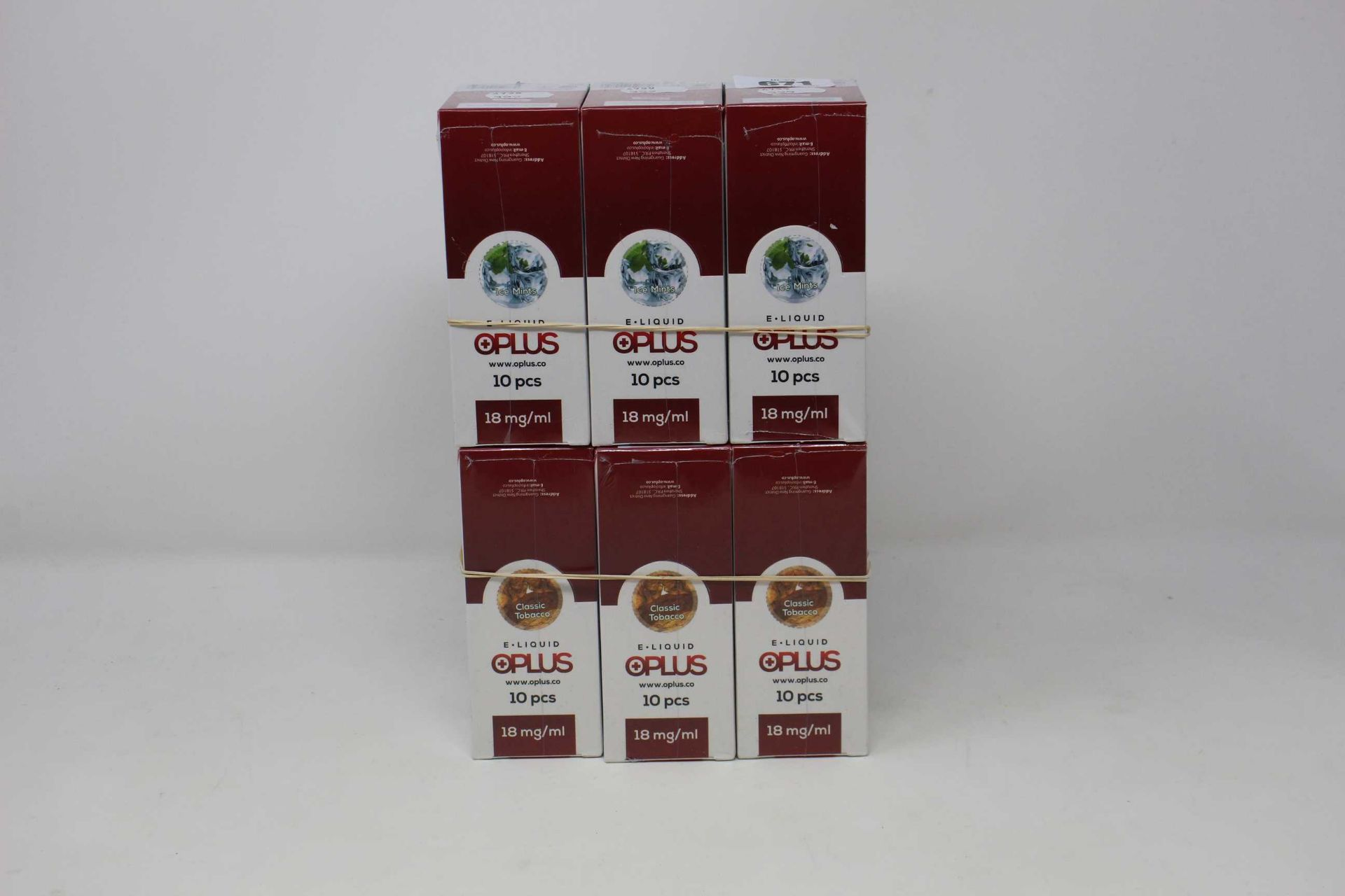Six boxes of ten (10ml) OPLus E-Liquid in Classic Tobacco and Ice Mint 18mg/ml (Over 18s only).