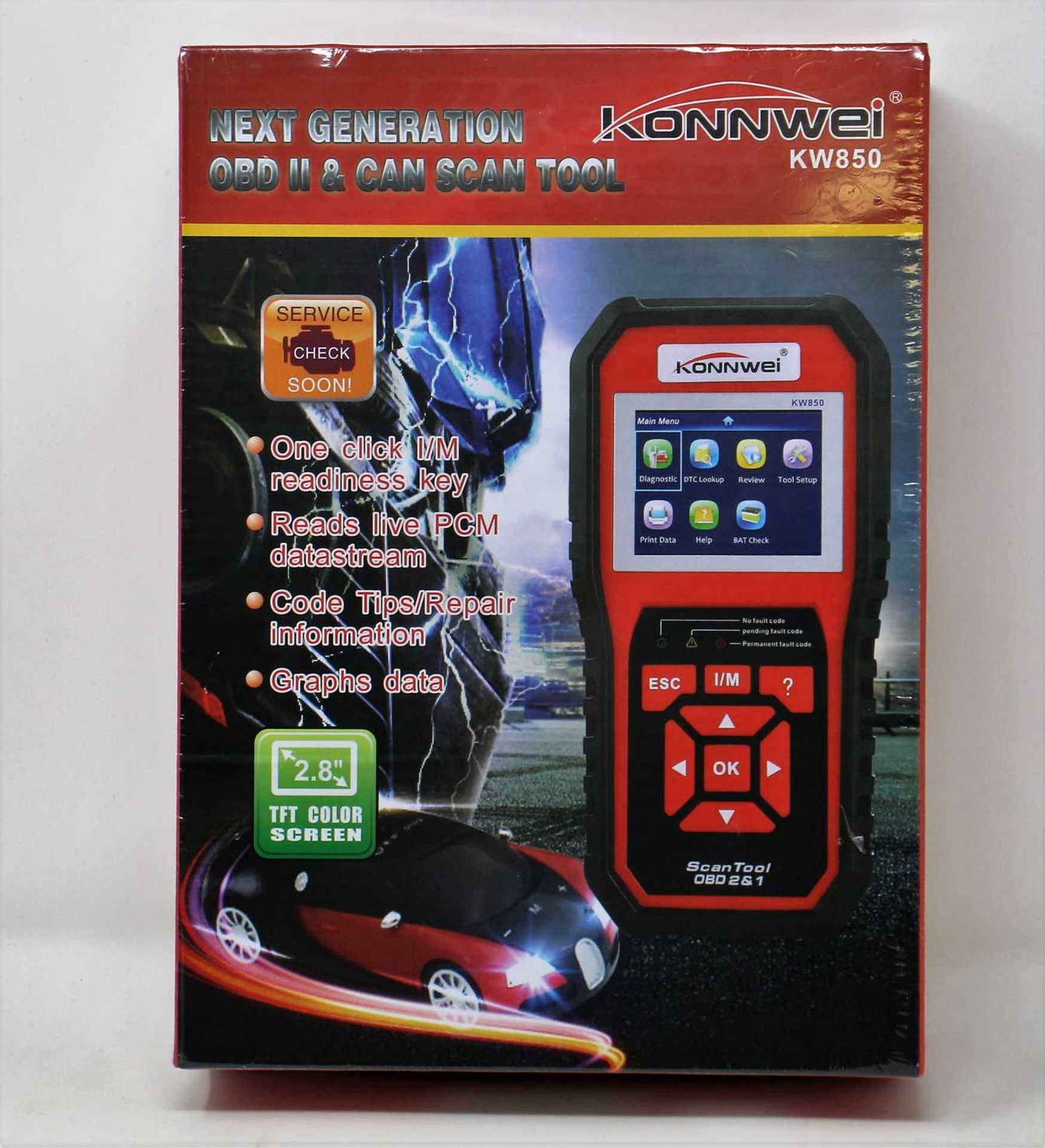 A boxed as new KONNWEI KW850 Professional OBD2 Scanner Auto Code Reader Diagnostic Tool (Box