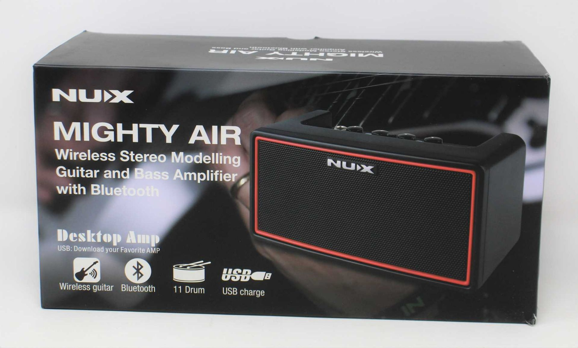 A boxed as new NuX Mighty Air Wireless Stereo Modelling Guitar & Bass Amplifier with Bluetooth.