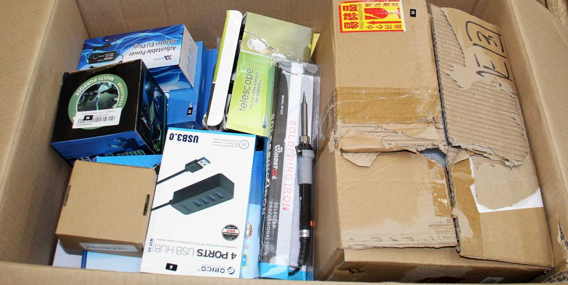 A box of assorted as new electrical items and accessories to include FPV Drone, Smart Doorbell, - Image 2 of 6