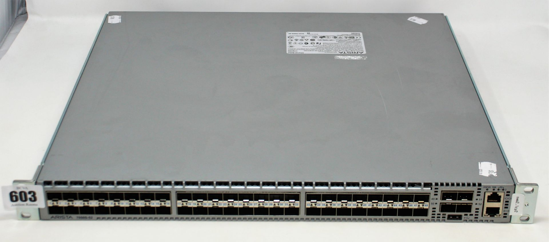 A pre-owned Arista DCS-7050S-52 52 Port Ethernet Switch (Untested, sold as seen).