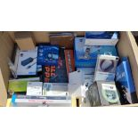 A box of assorted as new electrical items and accessories to include FPV Drone, Smart Doorbell,