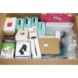 A box of assorted as new electrical items and accessories to include Airpod Charging Cases, LED