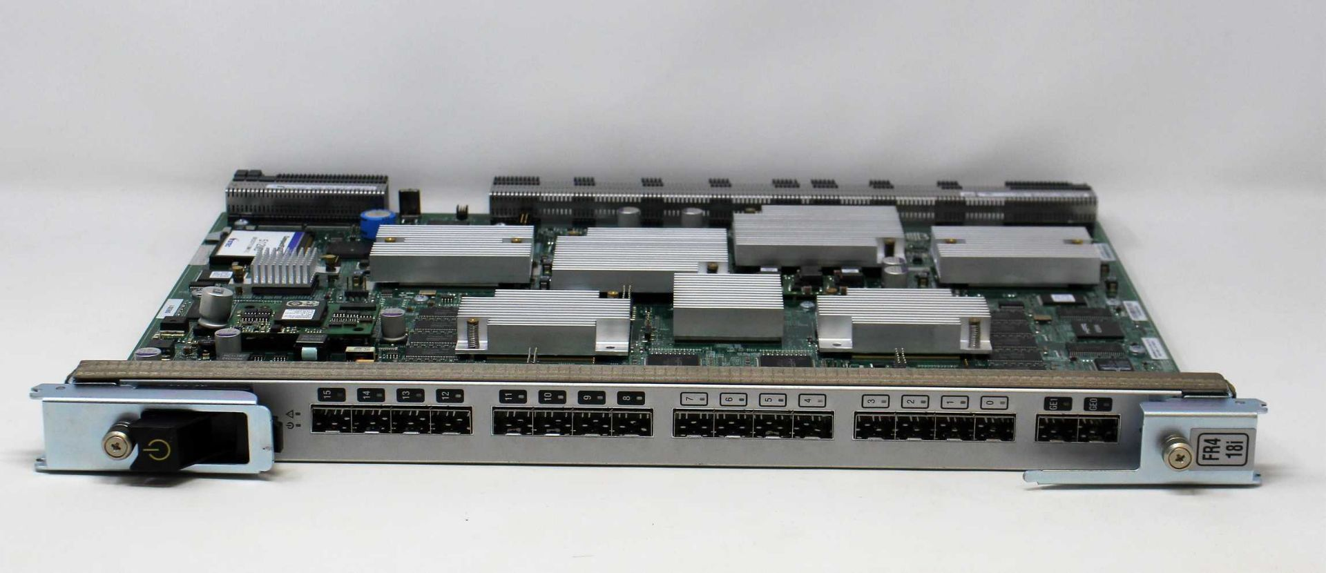 A pre-owned Brocade FR4 18i 18-Port 4Gb Fibre Channel Switch Blade (60-0000659-15) (Box and