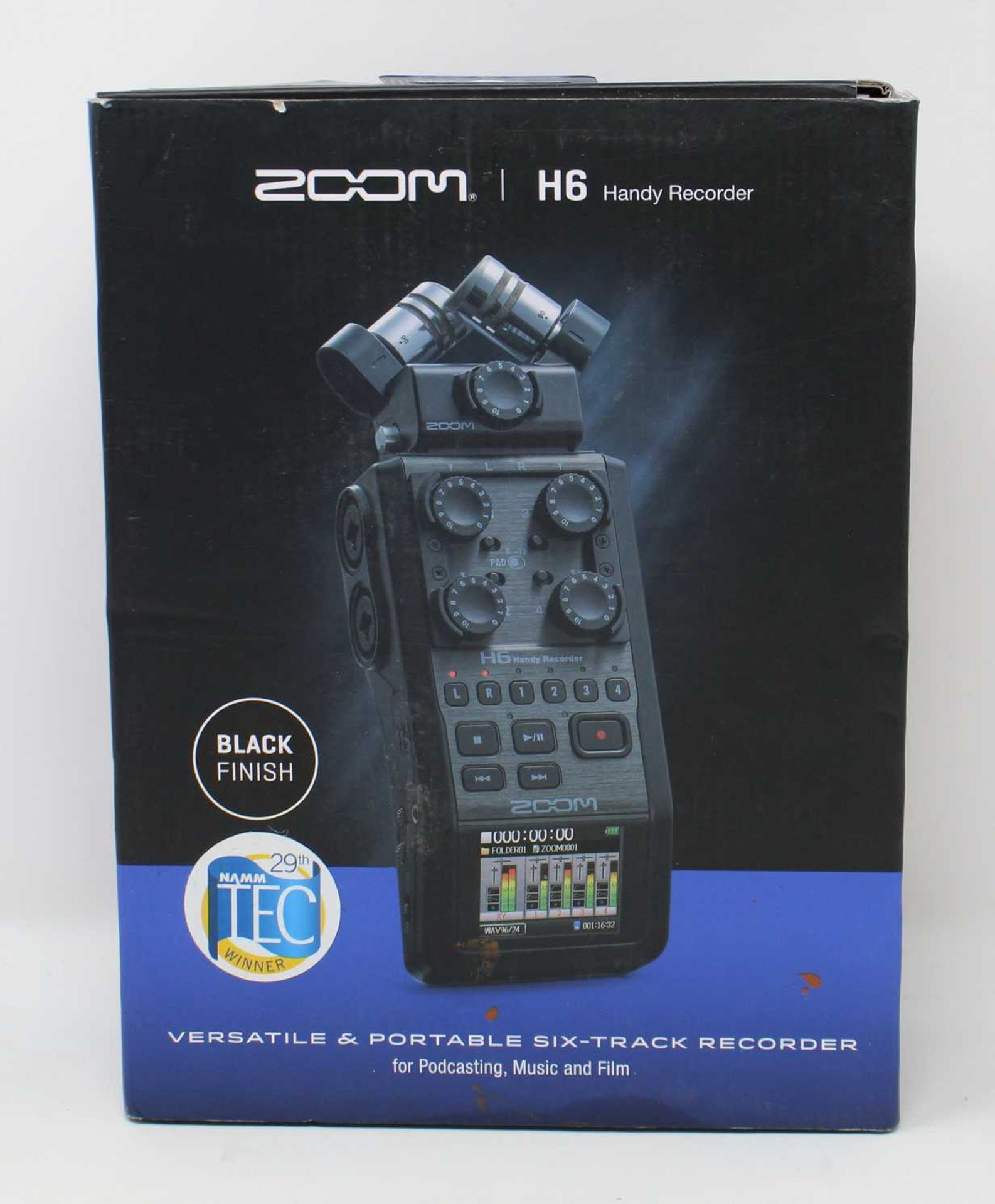 A boxed as new Zoom H6 Handy Portable Recorder in Black (Box sealed).