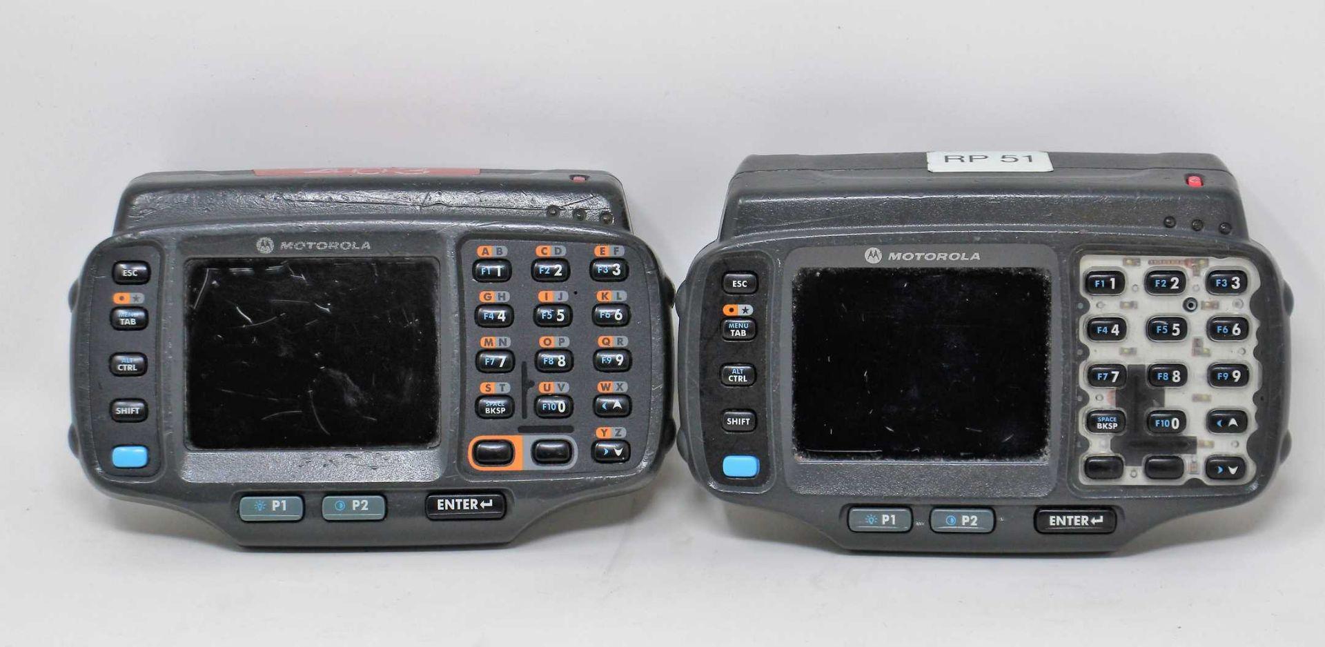 SOLD FOR PARTS: Two pre-owned Motorola WT41N0 Wearable Computers (M/N: WT41N0-N2S27ER) (Batteries