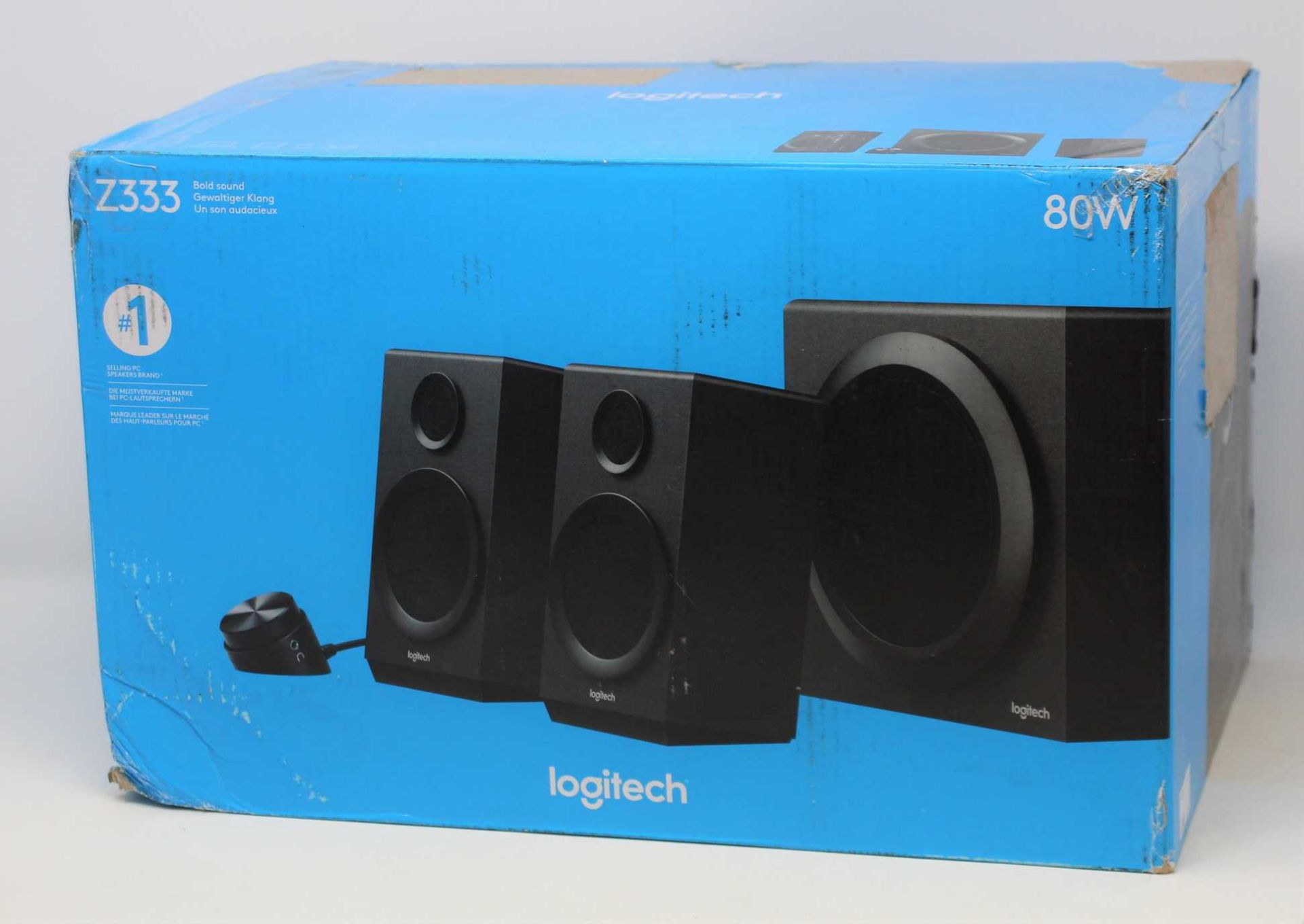 A boxed as new Logitech Z333 2.1 80W Computer Speaker System with Subwoofer (P/N: S-00154) (Box