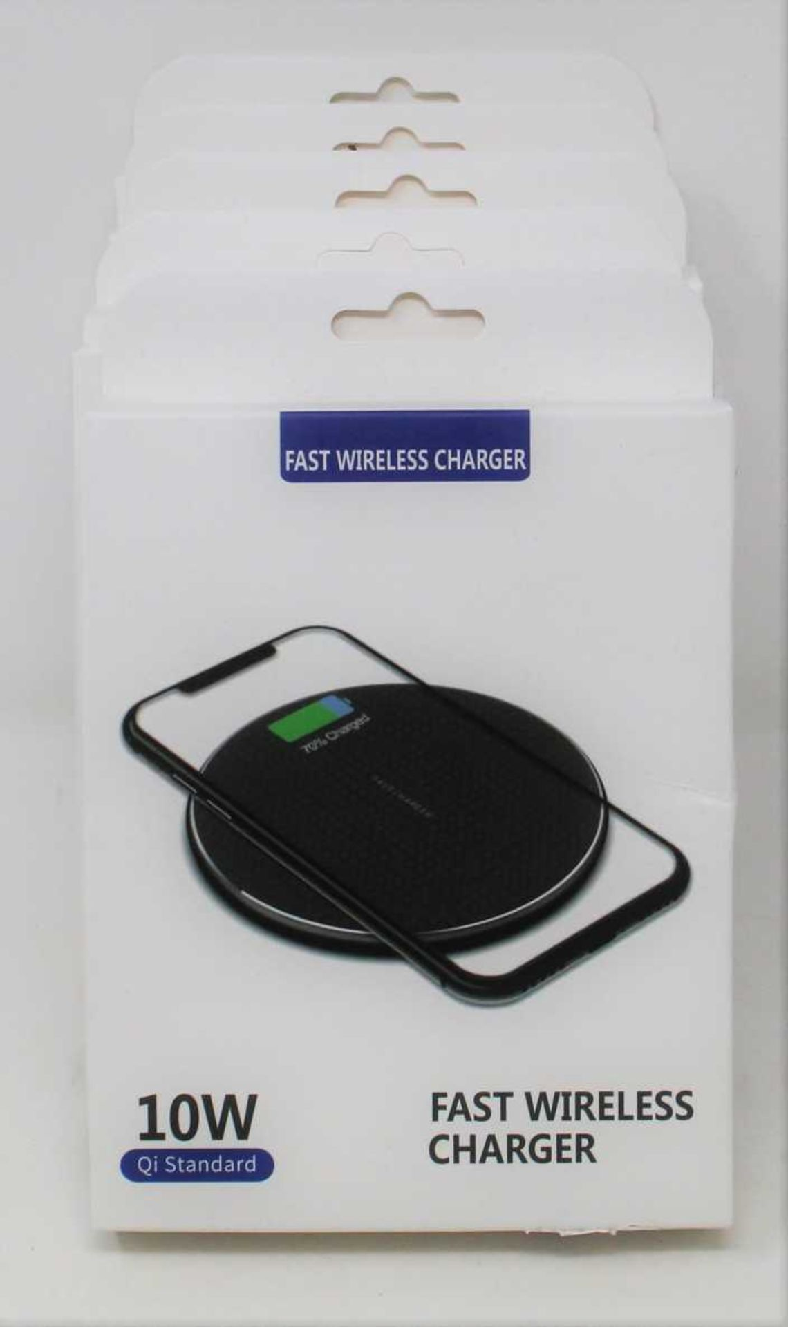 Five boxed as new Qi Standard 10W Wireless Chargers in Black.