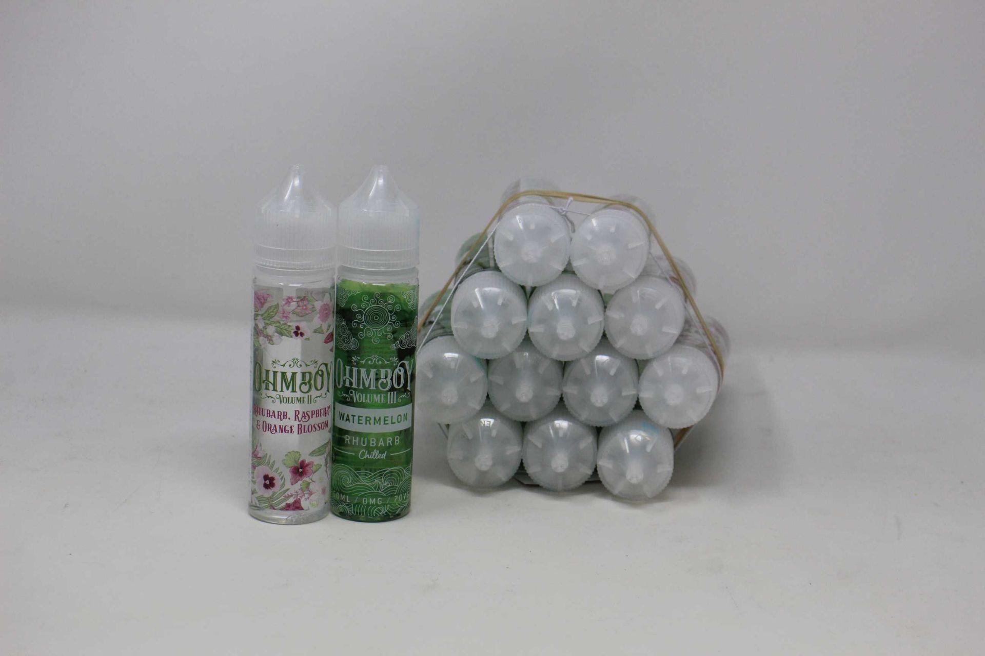 Five as new bottles of Ohm Boy Volume II Rhubarb, Raspberry & Orange Blossom Botanicals E-Liquid 0mg