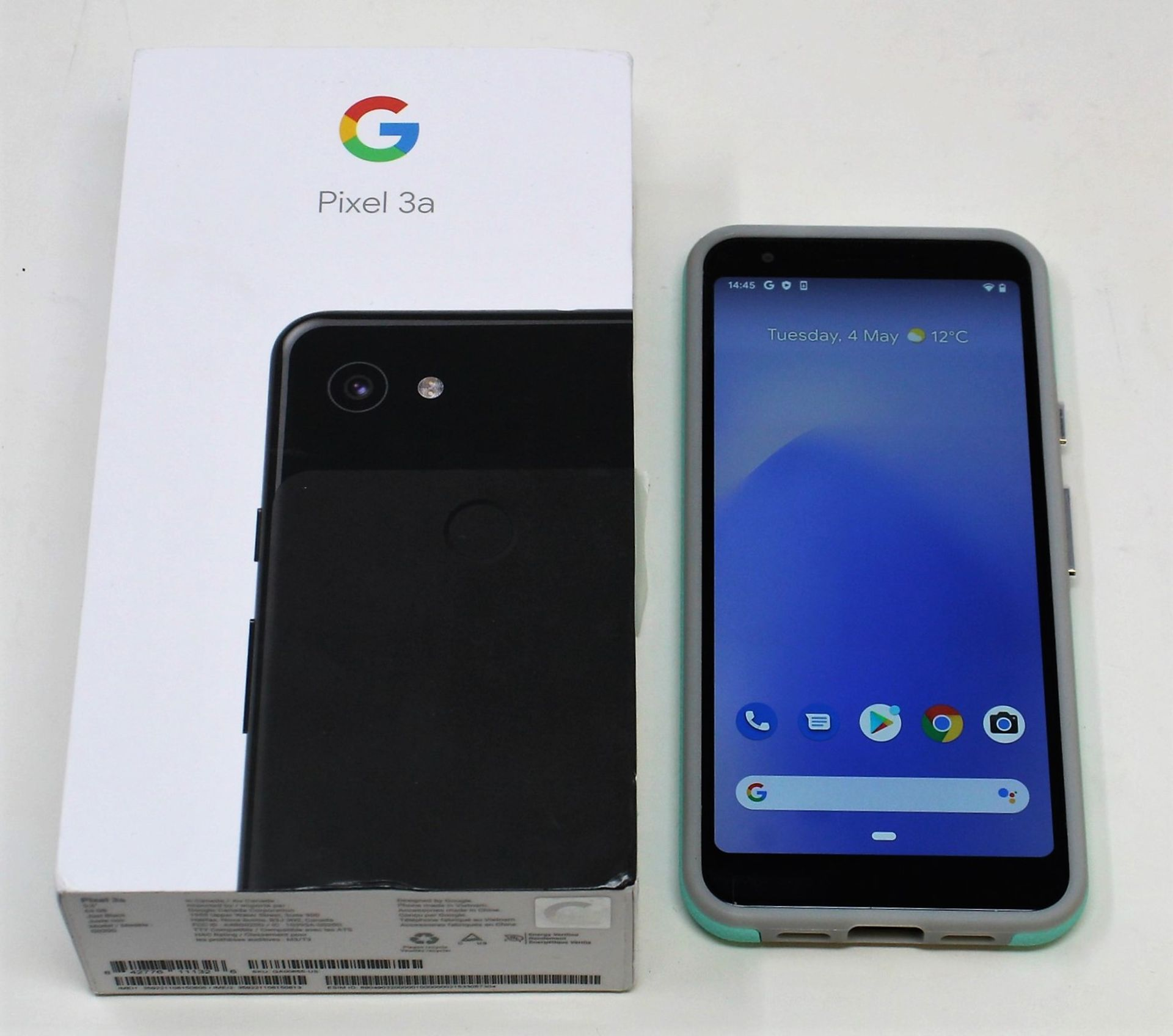 A pre-owned Google Pixel 3a G020G 64GB in Just Black (FRP clear) (Checkmend report ID: CM16922336-