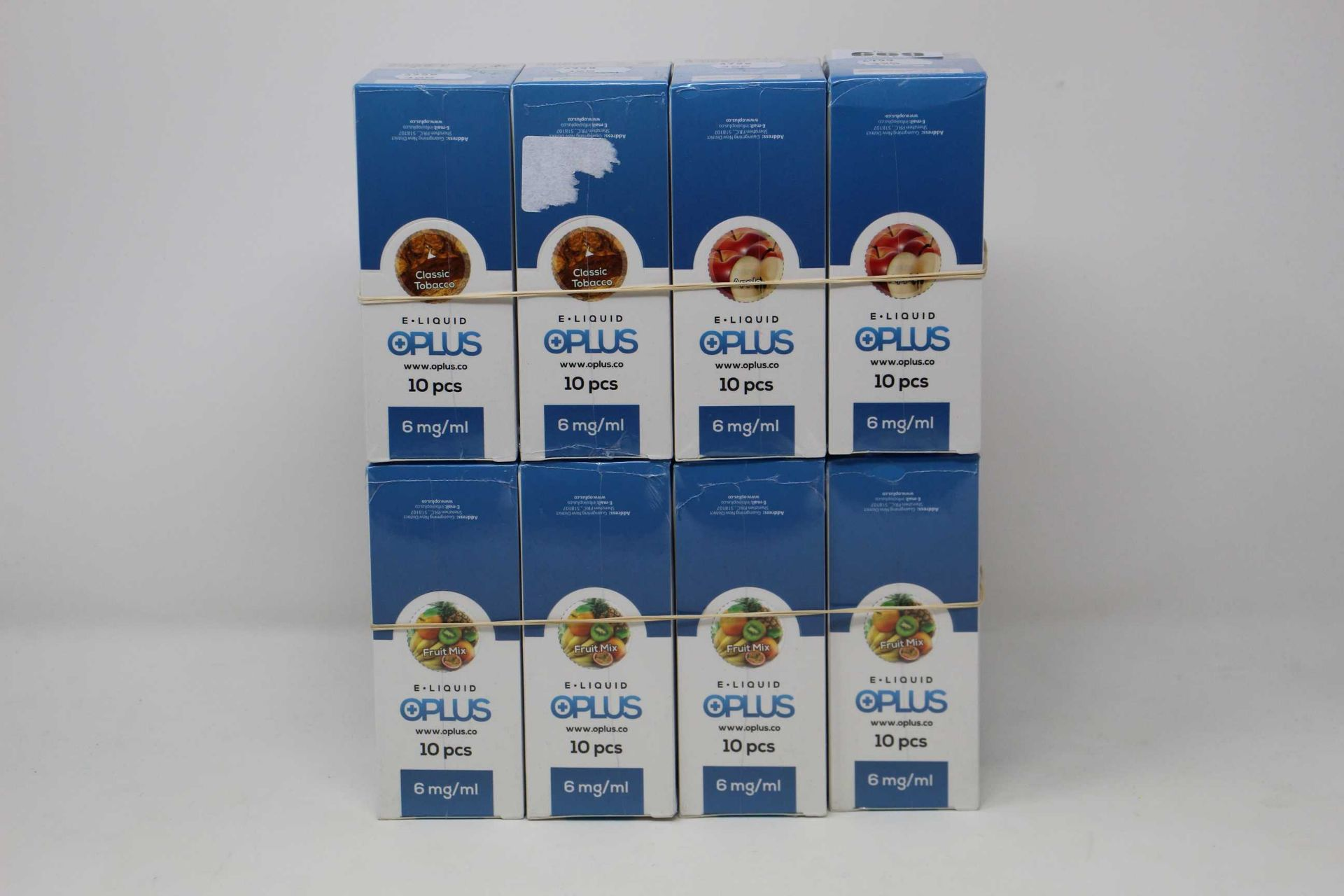 Eight boxes of ten (10ml) OPLus E-Liquid in Classic Tobacco, Apple and Fruit Mix 6mg/ml (Over 18s